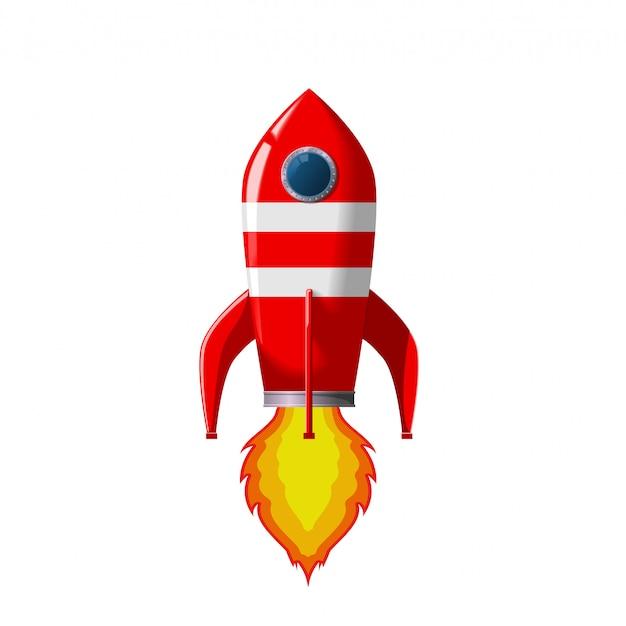 Ретро космическая ракета взлетает.