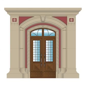 ベクトル画像、石造りの家の入り口
