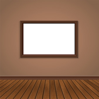 壁の窓と木製の床