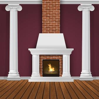 暖炉のあるクラシックな内壁