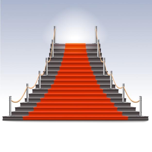 Реалистичная каменная лестница с красной ковровой дорожкой.