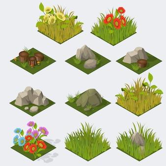 Набор изометрических пейзажных плиток