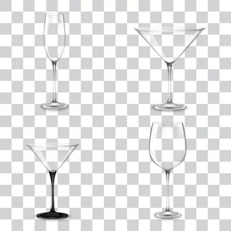 アルコールのカクテルグラスのセット