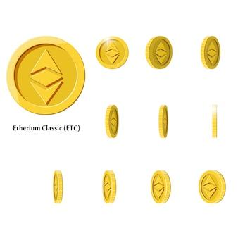 Золотые вращающиеся этериумные монеты