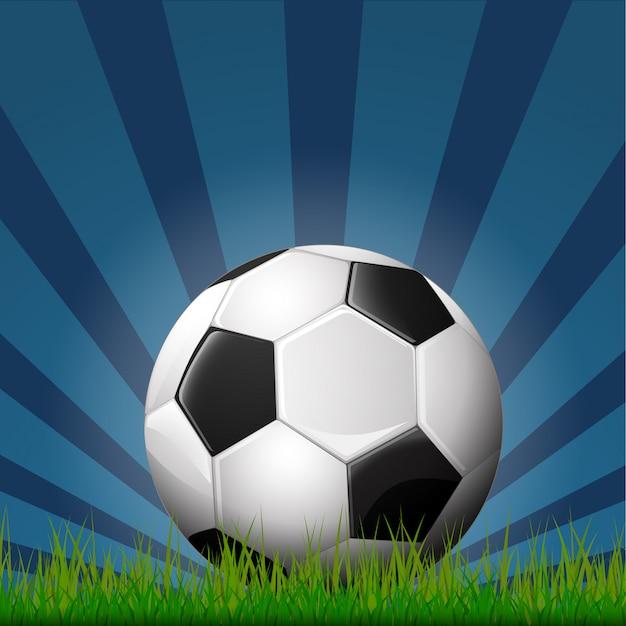 Иллюстрация футбольного мяча на траве