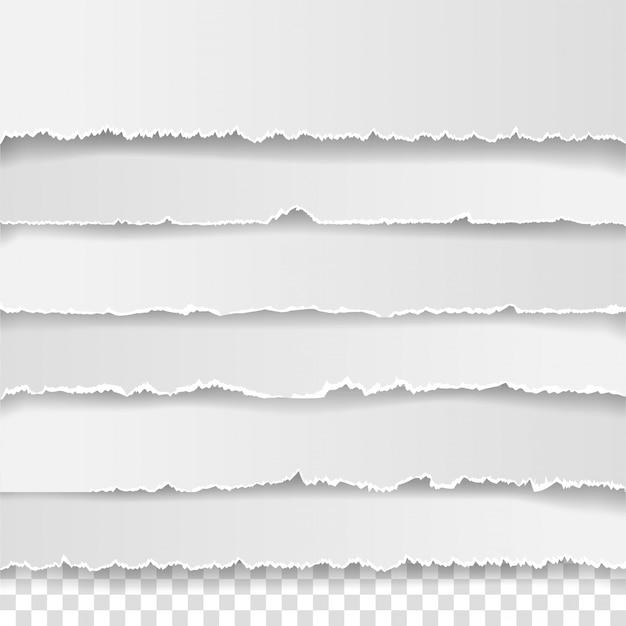 破れた白いメモのセット