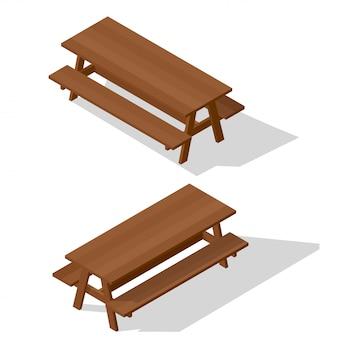 ベンチ付き木製テーブル