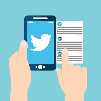 Проверка твиттера на мобильном устройстве
