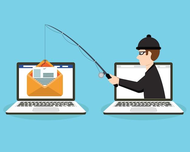 電子メールの封筒と釣りフックでアカウントにログイン
