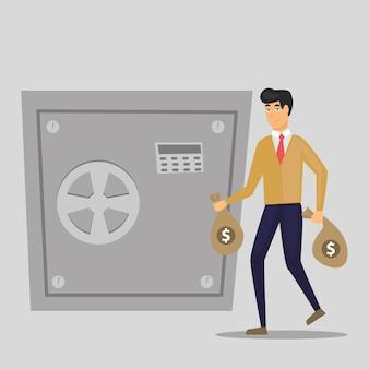 ビジネスの男性は、金庫にお金でバッグを置きます