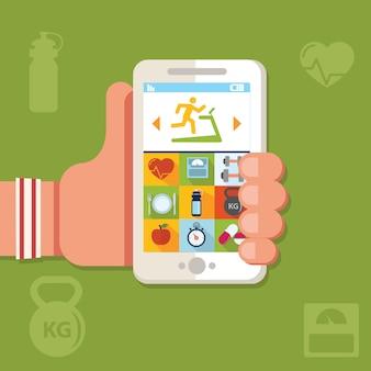 Держа телефон с приложением тренировки