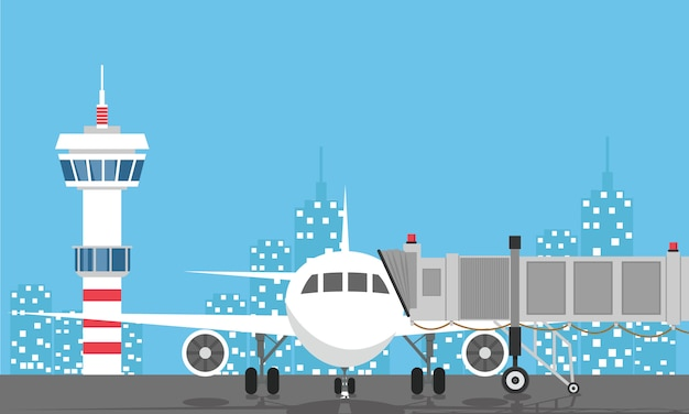 離陸前の飛行機空港管制塔、ジェットウェイ、ターミナルビル
