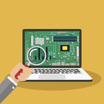 ノートパソコンの修理、コンピューターサービス、コンピューターストアフラットイラストコンセプト