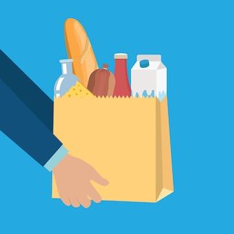 Продовольственные товары в бумажной сумке с сыром