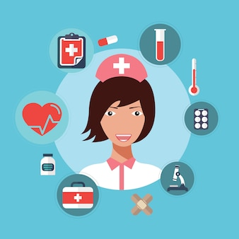 看護師医師女性アバターのベクトル図です。