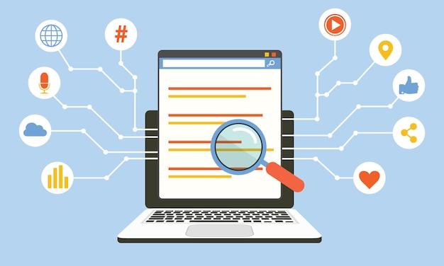 ソーシャルメディアアルゴリズム、デジタル技術、コンピュータープログラミングベクトルのコンセプト
