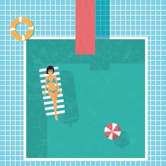 こんにちは夏。スイミングプール。フラットのベクトル図