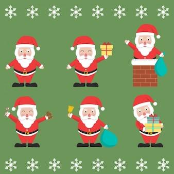 Санта с различными элементами