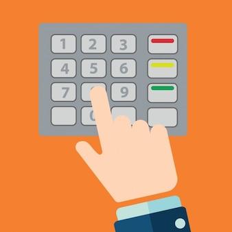 現金自動預け払い機のキーボードの背景