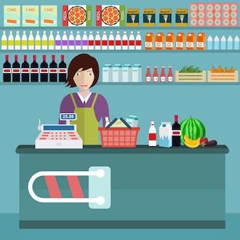 食料品店の背景デザイン