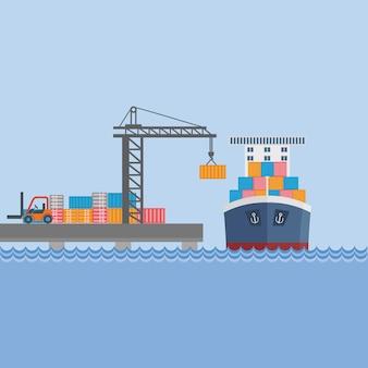 港でのコンテナ船