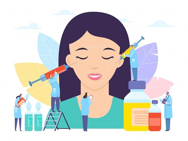 美容整形、美容ボトックス注射、イラスト。大きな女の子の患者の近くのヒアルロン酸薬と注射器