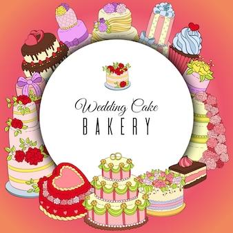 ウエディングケーキベーカリーラウンドバナー。甘い店のためのチョコレートとフルーティーなデザート