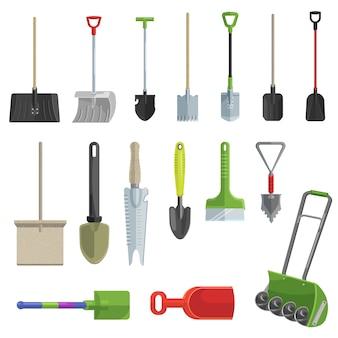 Лопата набор векторных садовых иконок
