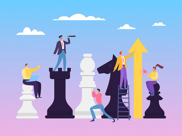 ビジネス戦略チェスの概念図。チームで作業する能力は、明確で有能なディストリビューションの役割に依存します。