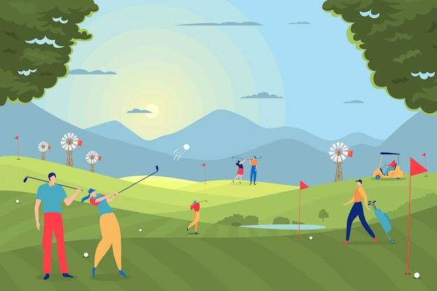 Гольф играют люди иллюстрации. участники проводят свободное время, занимаясь спортом на игровом поле. девушка ударила мяч с клубом.