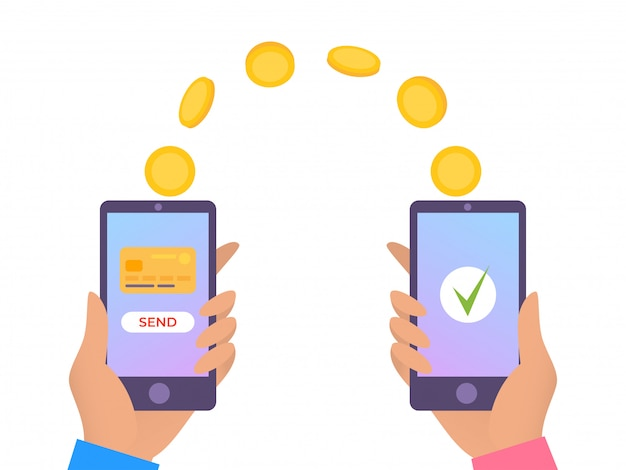 Перевод денег онлайн, мобильный платеж иллюстрации. телефонная транзакция, бизнес интернет и цифровое банковское обслуживание в руке.