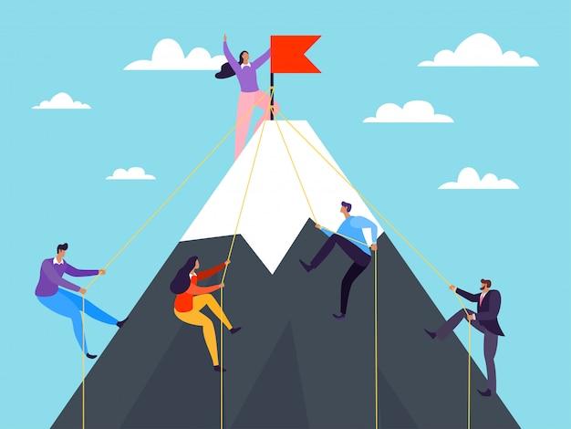 イラスト、山に登るビジネス人々。リーダーシップのコンセプトで成功を収め、キャリアのピークを登ります。