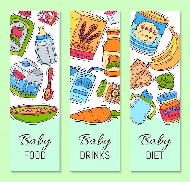 Детское питание формула пюре векторные иллюстрации. питание для детей. детские бутылочки и кормление. первые шаблоны продуктов питания для вертикальных флаеров