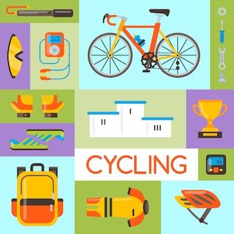 Велосипедная форма и спортивные аксессуары векторная иллюстрация. велосипедная деятельность, велосипедное снаряжение и спортивный аксессуар.