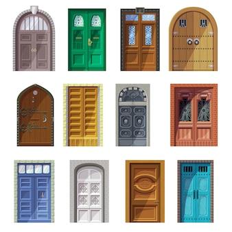 ドアベクトルヴィンテージ城戸口正面玄関屋内家インテリアイラストセットの歴史的な建物のアンティークエントリ玄関ドア敷居と中世ゲート分離アイコンセット