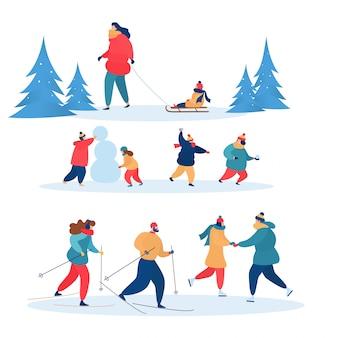 冬のアクティビティでは、アクティブな人々がスキー、スケート、そりを一緒に行います。家族のキャラクターのイラストセット