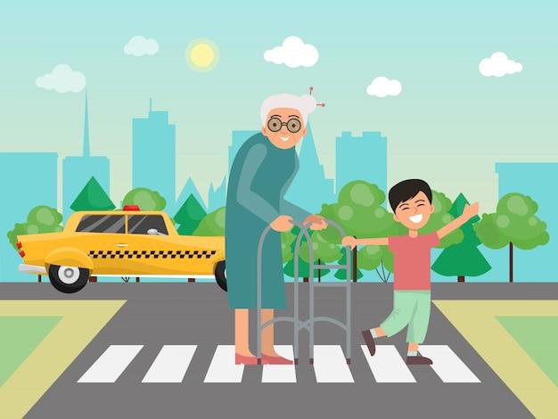 Мальчик помогает бабушке через иллюстрацию дороги.