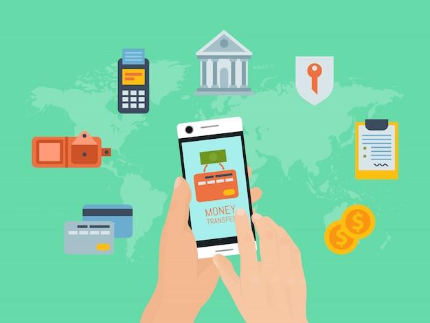Мобильные платежи по телефону. руки держат смартфон и делают финансовую сделку. онлайн банкинг