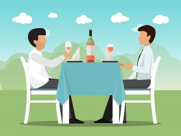 カフェでのビジネスコミュニケーション会議。会議とカフェのテーブルに座っているビジネスマン。カフェテリアでのビジネスパートナーランチ。