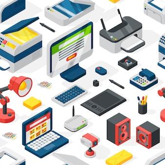 さまざまなスタイルのテクノロジーのアイコンのシームレスなパターンベクトル。