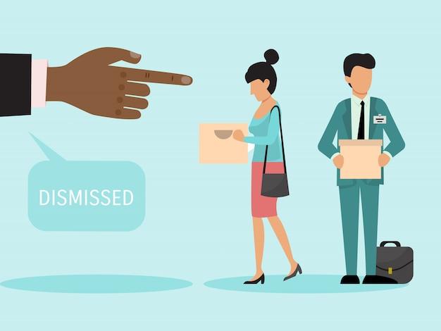 箱を持った解雇された従業員。解雇された男性と女性は仕事を辞めます。欲求不満のビジネスマンが自分のものを箱に入れて退ける。