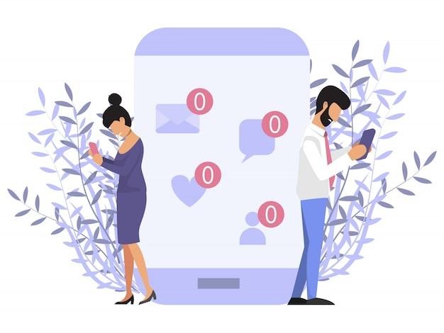 Одиночество с телефоном. люди возле мобильного телефона без знака сообщения. грустный мужчина и женщина, держащая мобильный телефон без знака сообщения