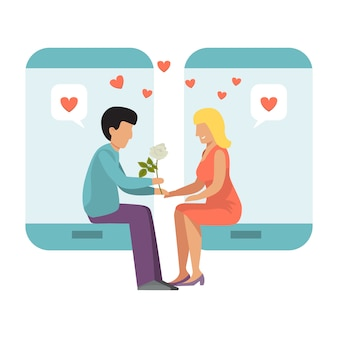 オンラインデートのスマートフォンをカップルします。男の子と女の子の電話愛の行に日付します。孤独な人々のインターネット会議。