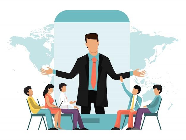 ビジネスオンラインビデオ会議、会議、講義、またはウェビナー