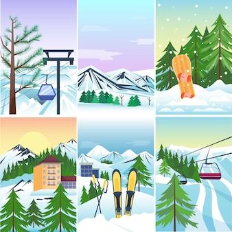 Зимние каникулы пейзаж векторные иллюстрации.