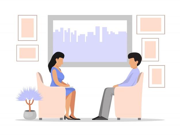 男のうつ病と心理学者の心理療法セッション。セッションを持つプロの心理療法士。男性患者の話の問題アルコール、薬物中毒、ストレス