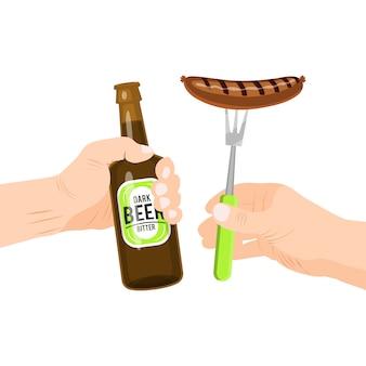 ソーセージとビールが分離されました。ソーセージとビールのボトルを保持している手。オクトーバーフェストパーティーの伝統的なスナック