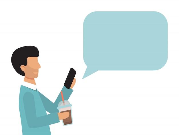 吹き出しとスマートフォンを持ってビジネス男。男は、音声バブルチャットで携帯電話を保持しています。男性のモバイル受信テキストメッセージ