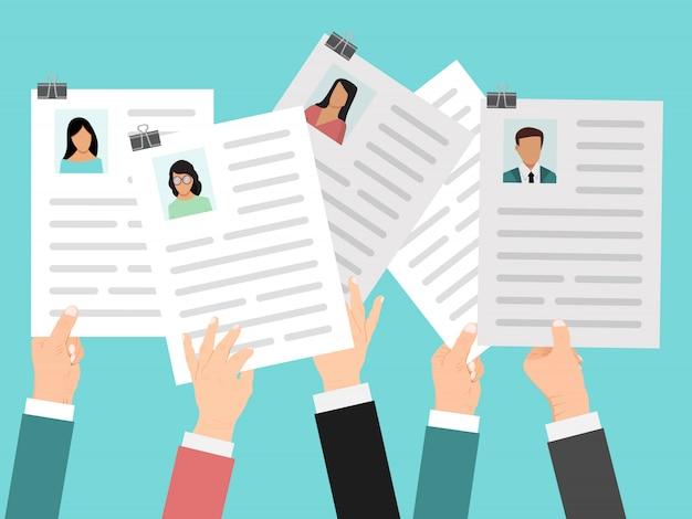 Руки держат резюме, резюме векторные иллюстрации. работа возобновляет конкурс концепции. сотрудники руки держат документ. возможность бизнес-карьеры.