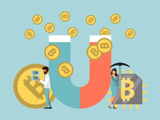 磁石の概念図によるビットコインのマイニング。磁石で暗号通貨を集めているビジネスマン。